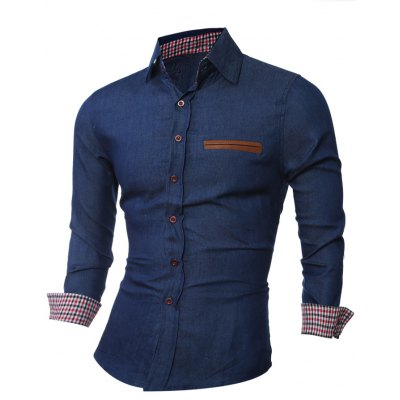 Leather Trim Breast Pocket Button Up Shirt