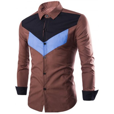 Slim-Fit Color Block Long Sleeve Shirt