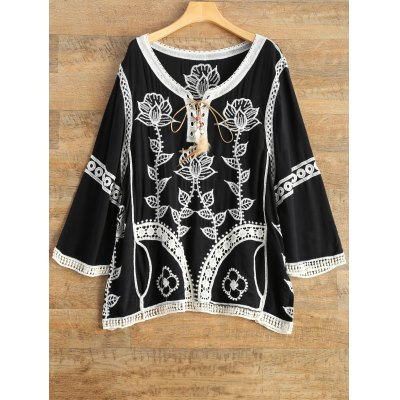 Lace Up Embroidered Tunic Top