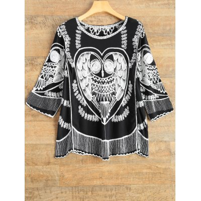 A Line Owl Embroidered Top