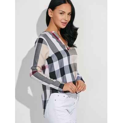 High-Low Checked Slimming Blouse