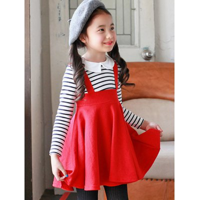 Kids Preppy Style Striped Pleated Dress