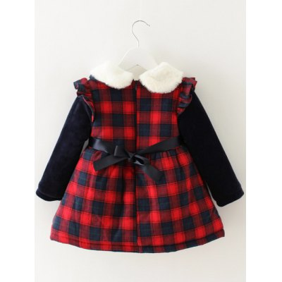 Kids Long Sleeve Fleece Plaid  DressGirls Clothing<br>Kids Long Sleeve Fleece Plaid  Dress<br><br>Style: Casual<br>Material: Polyester<br>Silhouette: A-Line<br>Dresses Length: Mini<br>Neckline: Flat Collar<br>Sleeve Length: Long Sleeves<br>Pattern Type: Plaid<br>With Belt: No<br>Season: Fall,Spring<br>Weight: 0.327kg<br>Package Contents: 1 x Dress