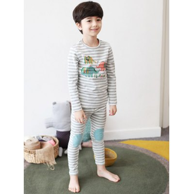 Kids Striped Elephant Print Pajamas