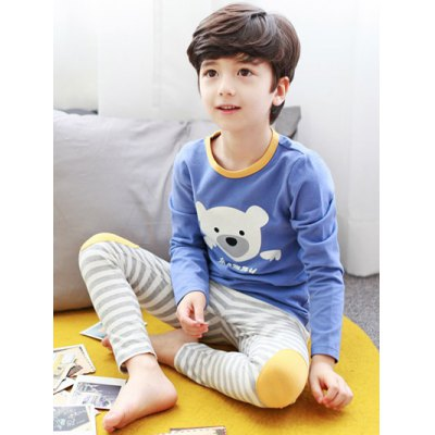 Kids Cartoon Bear Print Striped Long Sleeve Pajamas
