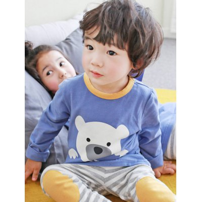 Kids Cartoon Bear Print Striped Long Sleeve PajamasGirls Clothing<br>Kids Cartoon Bear Print Striped Long Sleeve Pajamas<br><br>Type: Pajamas sets<br>Material: Polyester<br>Sleeve Length: Long Sleeves<br>Pattern Type: Character<br>Season: Fall,Spring,Winter<br>Weight: 0.314kg<br>Package Contents: 1 x T-Shirt   1 x Pants