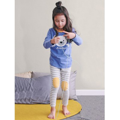 Kids Cartoon Bear Print Long Sleeve Striped Pajamas