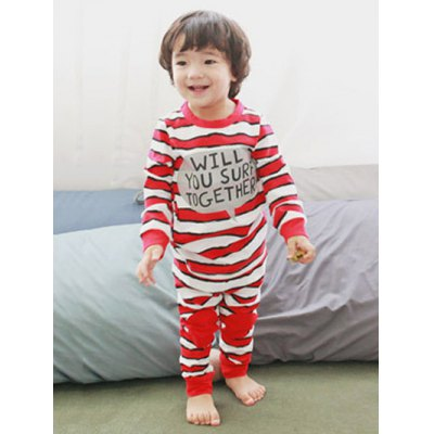 Striped Letter Print Long Sleeve Pajamas