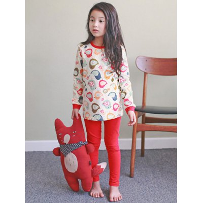 Kids Cartoon Bird Print Long Sleeve Pajamas