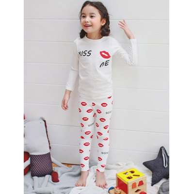 Kids Lip Print Long Sleeve PajamasGirls Clothing<br>Kids Lip Print Long Sleeve Pajamas<br><br>Type: Pajamas sets<br>Material: Polyester<br>Sleeve Length: Long Sleeves<br>Pattern Type: Print<br>Season: Fall,Spring,Winter<br>Weight: 0.207kg<br>Package Contents: 1 x T-Shirt   1 x Pants