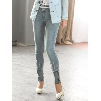 Zipper Spliced Destroyed Fit Jeans