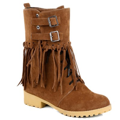 Suede Double Buckles Fringe Boots
