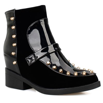 Patent Leather Spliced Flock Rivet Short Boots