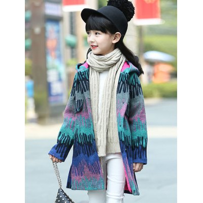 Buttoned Hairball Slit Hooded Woolen Coat