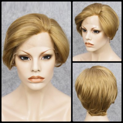 Short Straight Mixed Color Lace Front Synthetic Wig