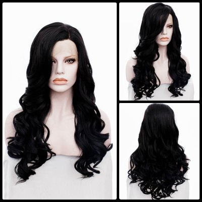 Long Side Parting Wavy Lace Front Synthetic Wig