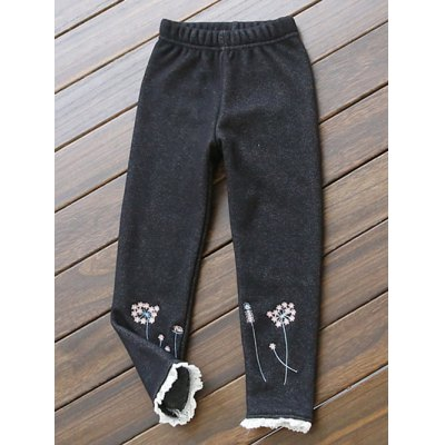 Kids Embroidered Lace Spliced Thicken Pants