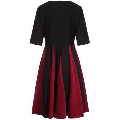 Color Block Fit and Flare Pleated Dress