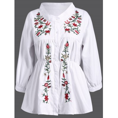 Stand Collar Plant Embroidery Elastic Waist Blouse