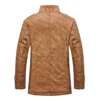 Stand Collar Single-Breasted Epaulet Embellished JacketMens Jackets &amp; Coats<br>Stand Collar Single-Breasted Epaulet Embellished Jacket<br><br>Clothes Type: Jackets<br>Collar: Stand Collar<br>Material: Cotton, Faux Leather, Polyester<br>Package Contents: 1 x Jacket<br>Season: Winter<br>Shirt Length: Regular<br>Sleeve Length: Long Sleeves<br>Style: Fashion<br>Weight: 0.7420kg