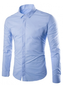 Plain Covered Button Up Back Pleat Formal Shirt