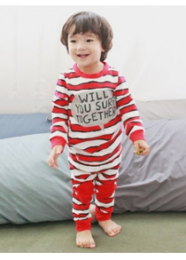 Kids Striped Letter Print Long Sleeve Pajamas