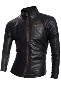 Zip Pocket Stand Collar Faux Leather Jacket