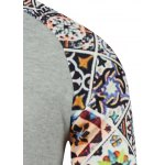 Tile Printed Drawstring Raglan Sleeve Hoodie for sale