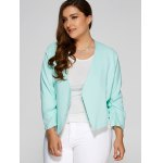 cheap Plus Size Open Front Crop Jacket