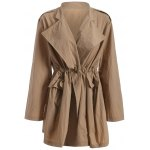 cheap Plus Size Drawstring Trench Coat with Pocket