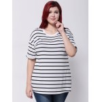 cheap Drop Shoulder Striped T-Shirt