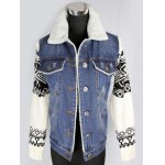 Knitted Sleeve Shearling Lined Denim Jacket