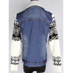 Knitted Sleeve Shearling Lined Denim Jacket deal