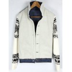 Knitted Sleeve Shearling Lined Denim Jacket photo