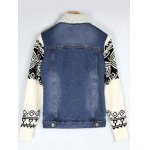 best Knitted Sleeve Shearling Lined Denim Jacket