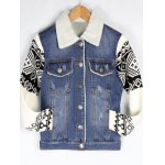 Knitted Sleeve Shearling Lined Denim Jacket for sale