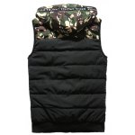 cheap Camouflage Spliced Hooded Selvedge Embellished Zip-Up Down Waistcoat