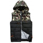 Camouflage Spliced Hooded Selvedge Embellished Zip-Up Down Waistcoat