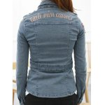 cheap Letter Embroidered Patched Fit Denim Jacket
