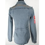 Letter Embroidered Patched Fit Denim Jacket for sale