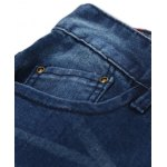 Straight Leg Zipper Fly Scratched Five-Pocket Jeans deal