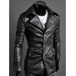 cheap Slim-Fit Notched Collar Epaulet Design PU Jacket