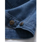 Zip Pocket Detachable Hood Denim Jacket photo