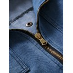 Zip Pocket Detachable Hood Denim Jacket deal