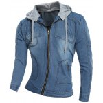 Zip Pocket Detachable Hood Denim Jacket