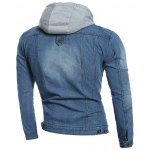 cheap Zip Pocket Detachable Hood Denim Jacket