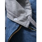 Zip Pocket Detachable Hood Denim Jacket for sale