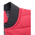 Stand Collar Zip-Up Striped Pattern Quilted Jacket for sale