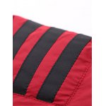best Stand Collar Zip-Up Striped Pattern Quilted Jacket