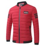 cheap Stand Collar Zip-Up Striped Pattern Quilted Jacket